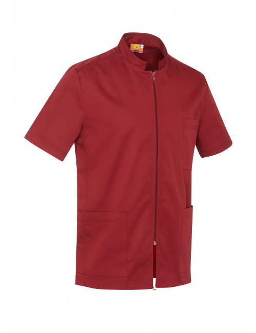 Medical Blouse Bordeaux, Woman, Zipper, Camille Lavandie (2622CIS)