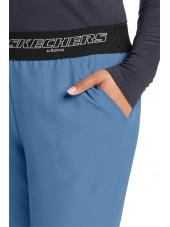 """Pantalon médical femme, collection """"Skechers"""" (SK202-) bleu ciel détail"""