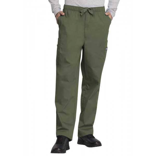 Pantalon médical cordon Homme, Cherokee Workwear Originals (4000) vert olive face