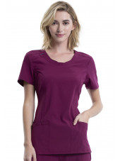 "Blouse médicale antimicrobienne Femme Col rond, Cherokee, Collection ""Infinity"" (2624A) bordeaux face"