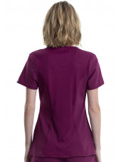 """Blouse médicale antimicrobienne Femme Col rond, Cherokee, Collection """"Infinity"""" (2624A) bordeaux dos"""