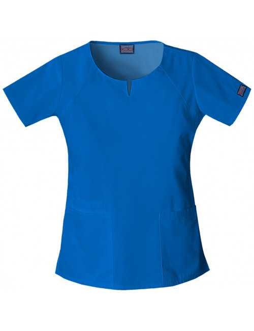 "Blouse femme col originale, Cherokee, Collection ""Authentic Scrubs"" (4824) bleu roi vue face"