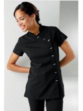 """Blouse de travail Femme """"Fleur"""", Clinic dress noir modele"""