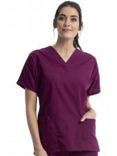 Blouse médicale Femme, 2 poches, Cherokee Workwear Originals (4700) bordeaux face