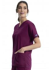 Blouse médicale Femme, 2 poches, Cherokee Workwear Originals (4700) bordeaux droite