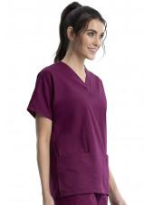 Blouse médicale Femme, 2 poches, Cherokee Workwear Originals (4700) bordeaux gauche