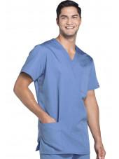 Blouse médicale Homme, 3 poches, Cherokee Workwear Originals (4876) ciel face
