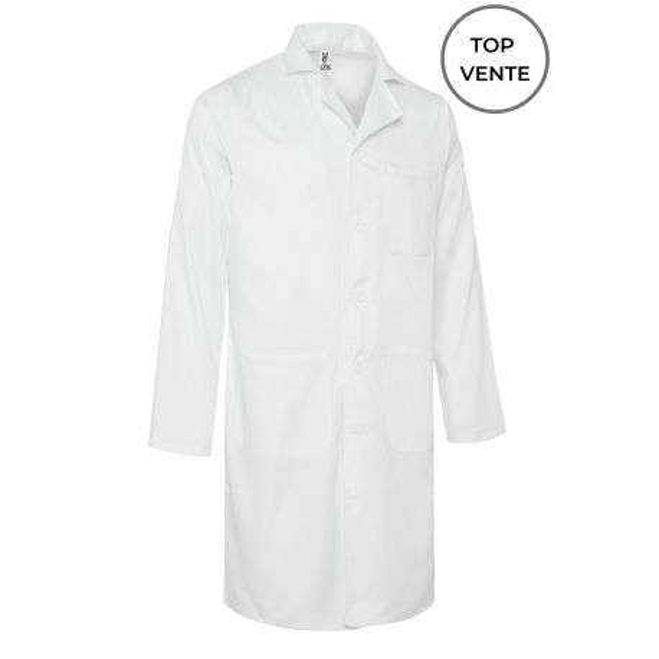 Blouse médicale Blanche Unisexe, manches longues (WALTER) top