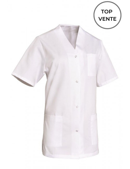 Work coat White woman V-neck Viviane, SNV (VIVMCP0000)