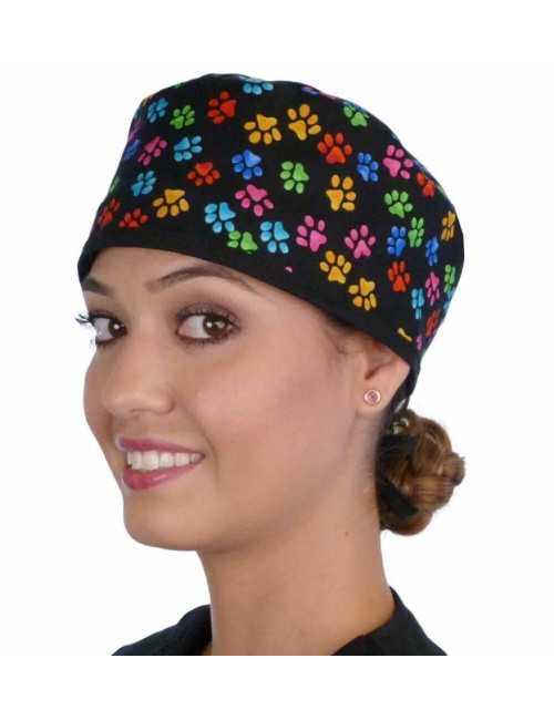 "Medical Cap ""Multi Color Paws"" (210-8686-BL)"