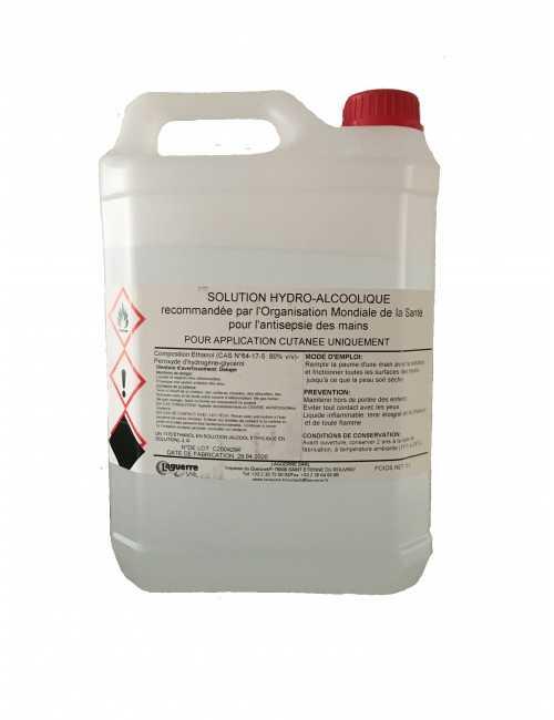Solution Hydroalcoolique 5 litres vue produit