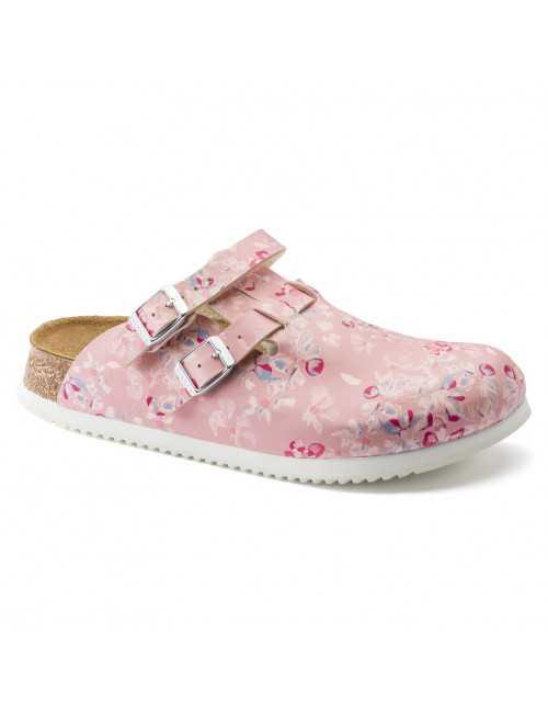 Medical Clogs pink flower, Birkenstock (Kay)