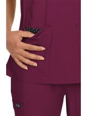"""Blouse médicale Femme Koi """"Katie"""", collection Koi Basics (374-) bordeaux poche"""