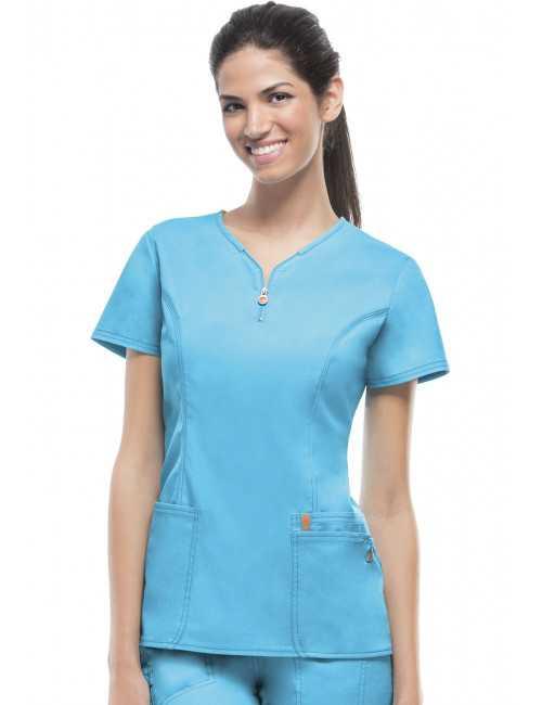Blouse médicale anti-taches et antimicrobienne, col zip femme, Code Happy (46600AB) turquoise