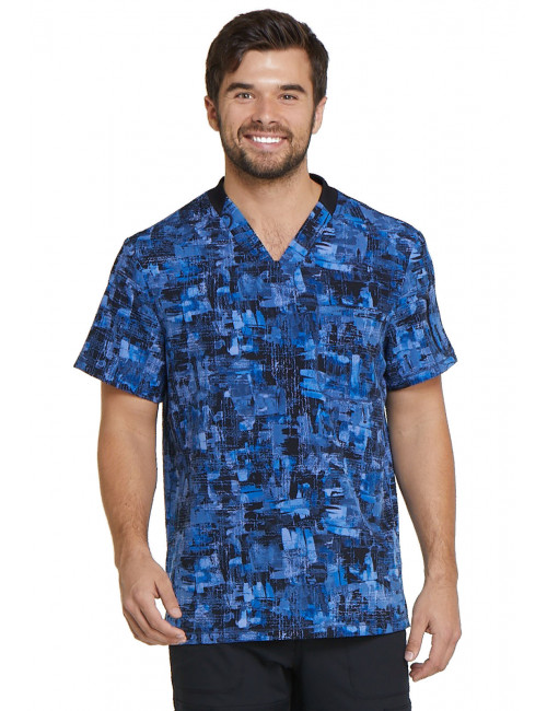 """Men's Medical Blouse Printed """"Positively Plaid Navy"""", """"Dynamix"""" Collection (DK611)"""