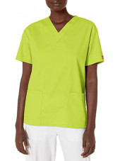 """Blouse médicale Col V Femme, Dickies, 2 poches, Collection """"EDS signature"""" (86706) jaune"""