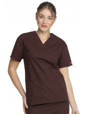 """Blouse médicale Col V Femme, Dickies, 2 poches, Collection """"EDS signature"""" (86706) marron"""