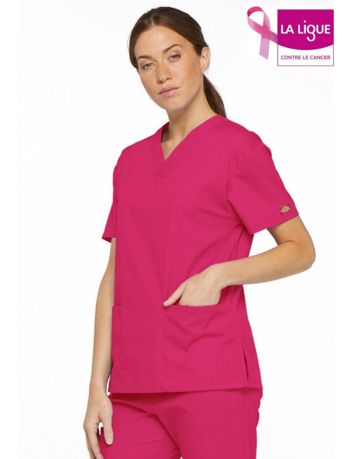 """Blouse médicale Col V Femme, Dickies, 2 poches, Collection """"EDS signature"""" (86706) - Octobre Rose"""