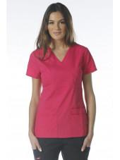 """Blouse médicale Cache Coeur Femme, Dickies, collection """"EDS signature"""" (85820), couleur fushia vue modèle 1"""