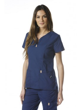 Blouse anti-taches et antimicrobienne, col zip femme, Code Happy (46600AB)