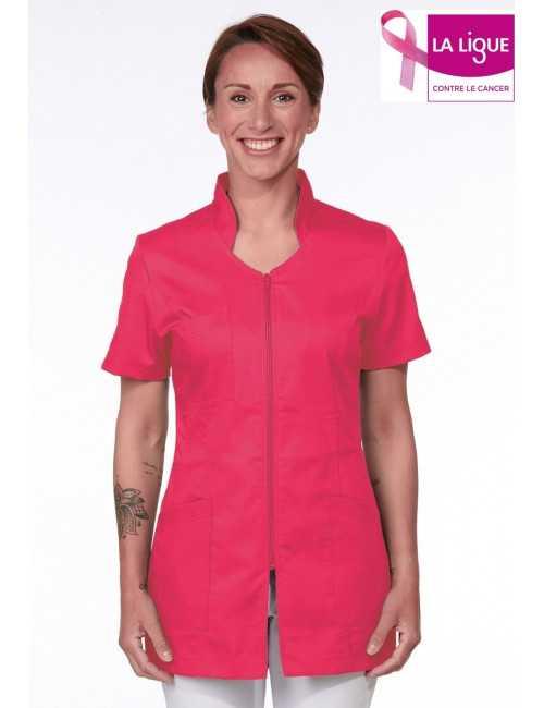 Pink Medical Blouse, Woman, Zipper, Camille Lavandie (2617ROS)