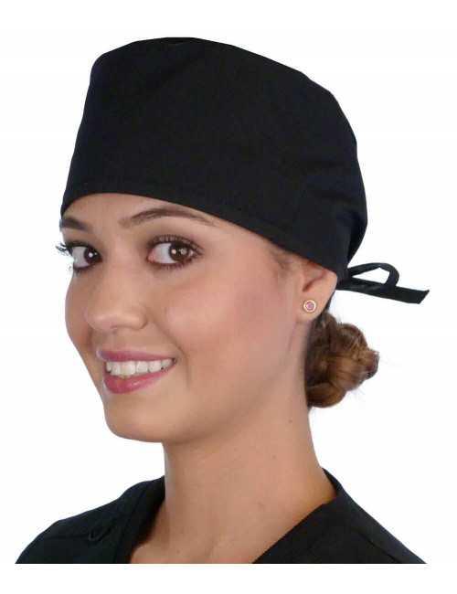 "Calot médical ""Noir"" (210-1030) femme face"