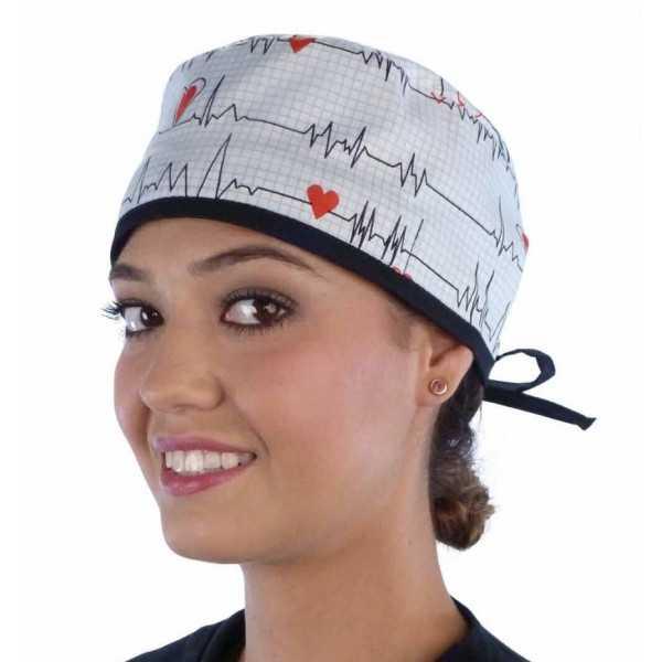 """Calot médical """"Battements de Coeur"""" (210-8487-BL) femme face"""