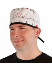 """Calot médical """"Battements de Coeur"""" (210-8487-BL) homme face"""