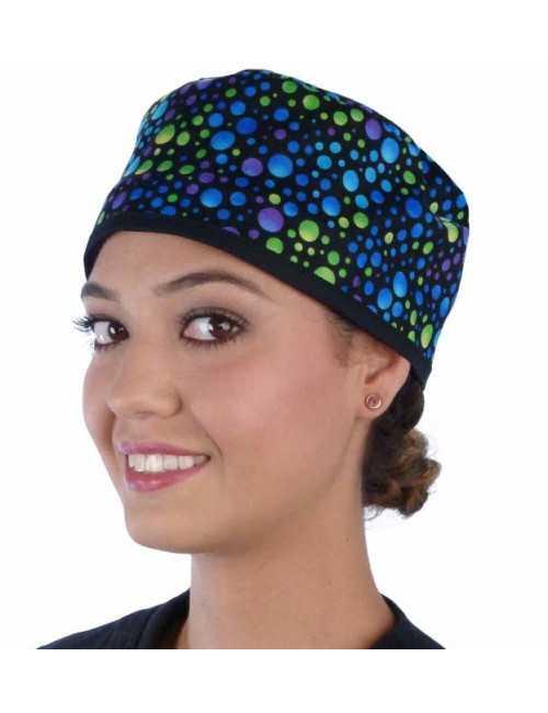 """Calot médical """"Points Bleu, vert, violet"""" (210-8653-BL) femme face"""