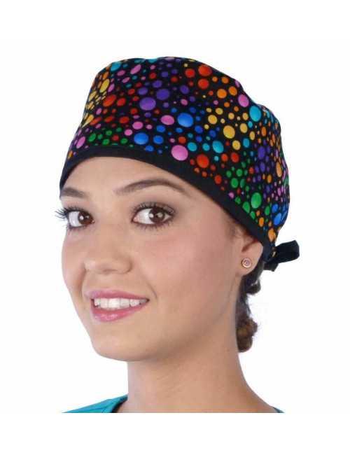 """Calot médical """"Pois couleurs"""" (210-8655) femme face"""