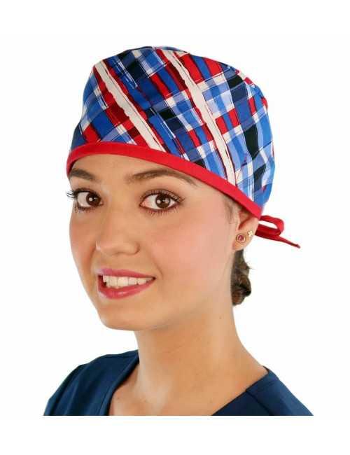 """Calot médical """"Carreaux tricolores"""" (210-8587-RE) femme face"""