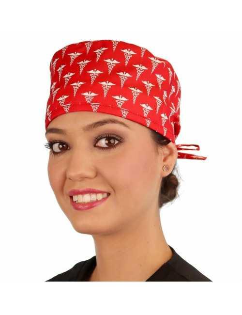 """Calot médical """"Caducée rouge"""" (210-8636) femme face"""