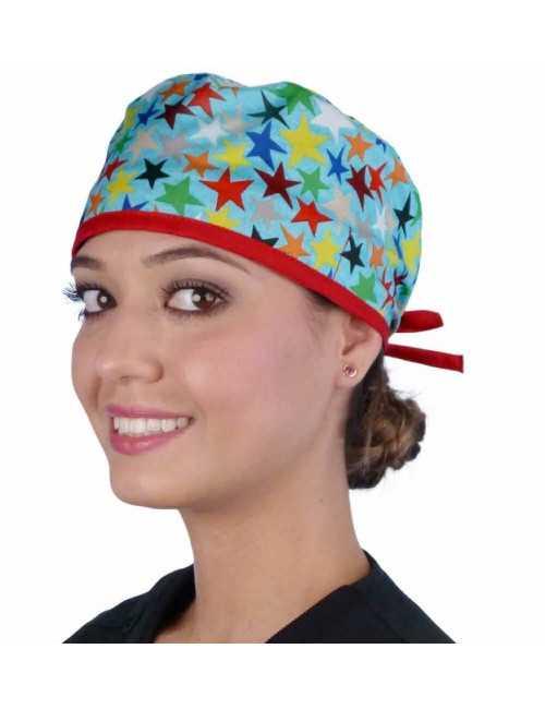 """Calot médical """"Etoiles colorées"""" (210-8813-RE) femme face"""