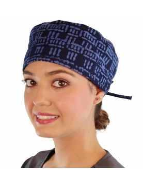 "Calot médical ""Bleu Batik"" (210-8905) femme face"