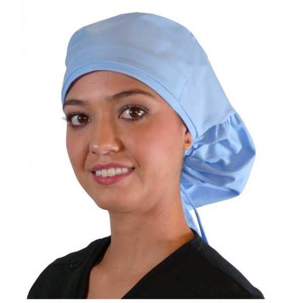 """Calot médical Cheveux Longs """"Bleu Ciel"""" (815-1134) femme face"""