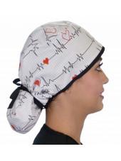 """Calot médical Cheveux Longs """"Battements coeur fond blanc"""" (815-8487-BL) droite"""