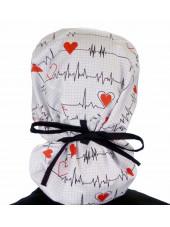 """Calot médical Cheveux Longs """"Battements coeur fond blanc"""" (815-8487-BL) dos attaché"""
