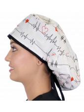 """Calot médical Cheveux Longs """"Battements coeur fond blanc"""" (815-8487-BL) gauche"""