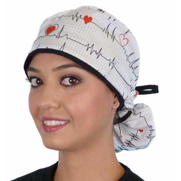 """Calot médical Cheveux Longs """"Battements coeur fond blanc"""" (815-8487-BL) face attaché"""