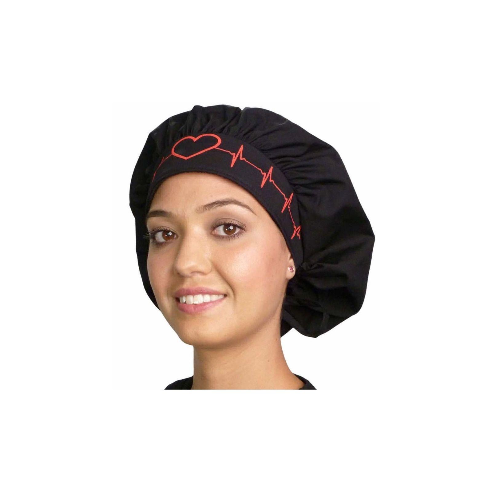 """Calot médical Cheveux Mi-Longs """"Battements coeur rouge"""" (214-8808) face"""
