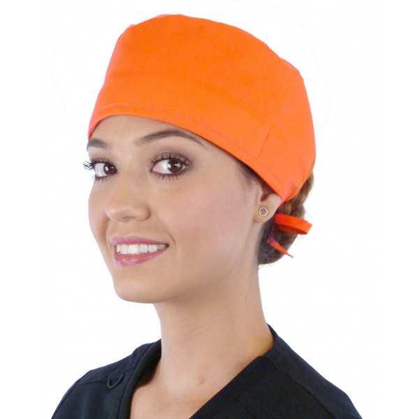 Calot médical Orange (210-1033) femme face