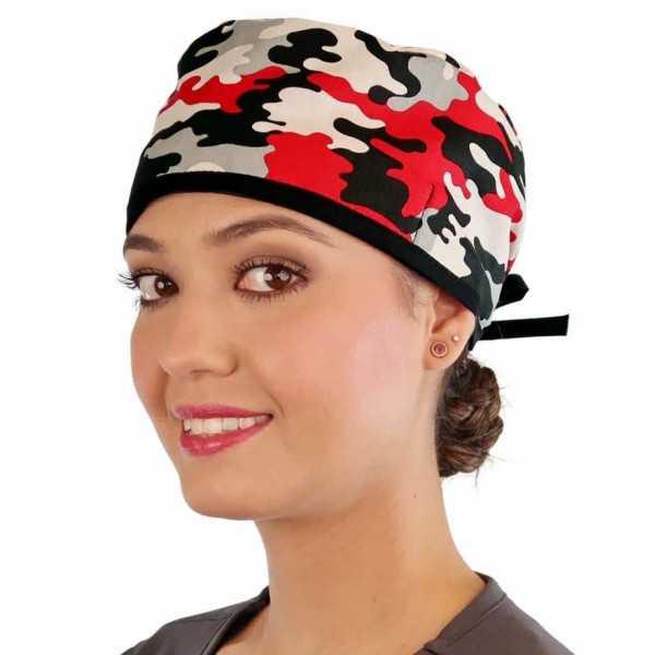 """Calot médical """"Camouflages Rouges"""" (210-8724) femme face"""
