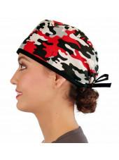 """Calot médical """"Camouflages Rouges"""" (210-8724) femme coté"""