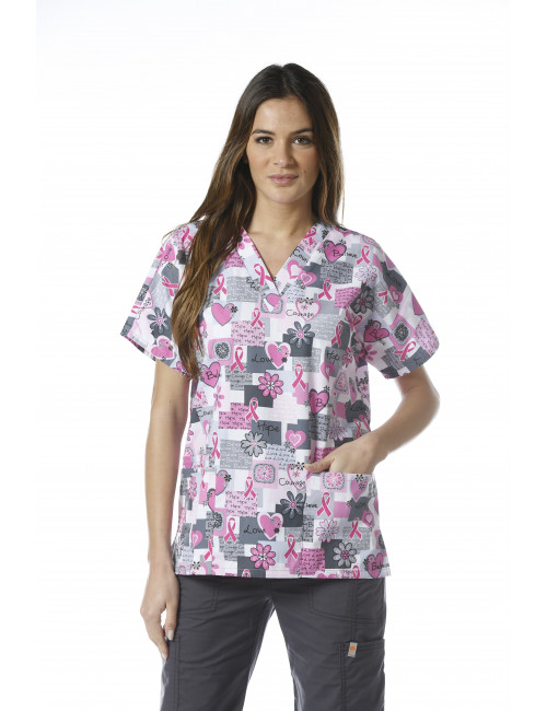 V-neck tunic, two patch pockets Printed Cherokee