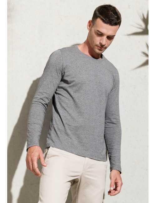 T-shirt organic cotton round neck long sleeves man KARIBAN (K372)