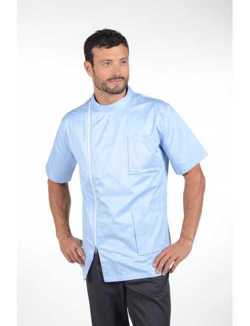 """Blouse médicale 100% coton, homme zippée , """"PARIGI"""", Pastelli"""