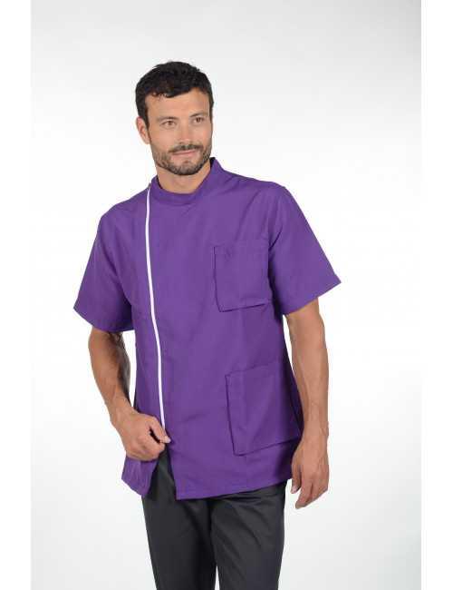 """Blouse médicale, tissu écologique, homme zippée , """"PARIGI"""", Pastelli"""