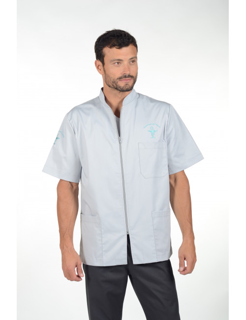 """Stretch medical blouse, man zipped, CMT collection """"Stretch plain"""" (047)"""