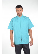 Blouse médicale homme zippée, Mankaia Factory, nouveau tissu (047)