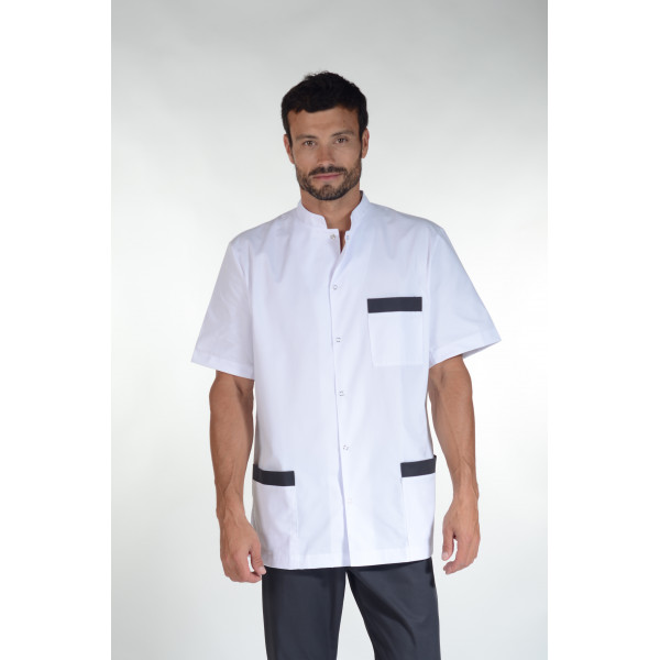 "Blouse médicale, col mao pression, CMT collection ""Stretch bicolore"" (007)"